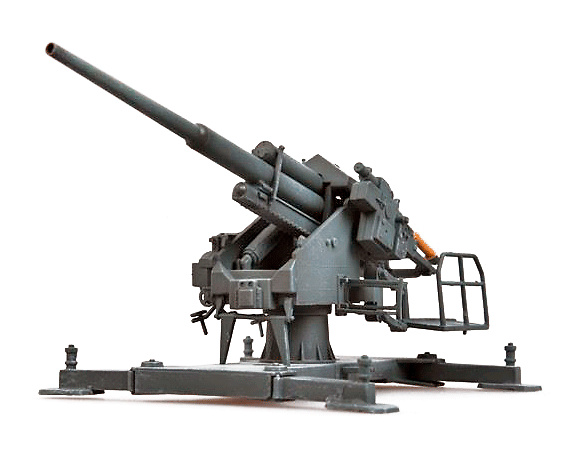 128mm Flak40 con Bettung (plataforma), 1944, 1:72, Modelcollect