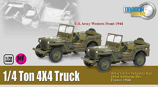 1/4 Ton 4x4 Truck (Twin Pack), US Army, Western Front, 1944, 1:72, Dragon Armor