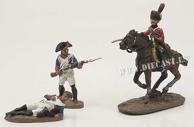 2 soldados a pie + soldado a caballo, 1:60, Del Prado