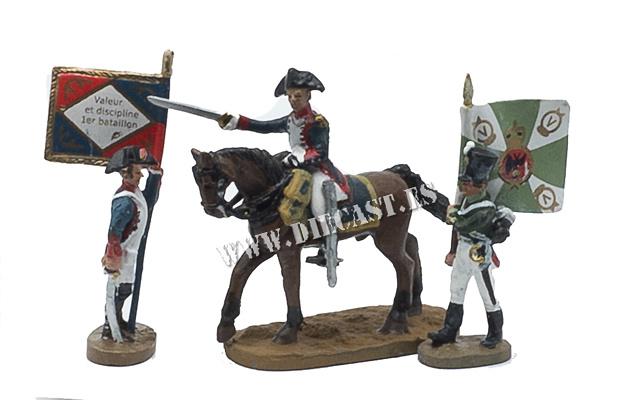 2 soldados abanderados a pie + soldado a caballo, 1:60, Del Prado