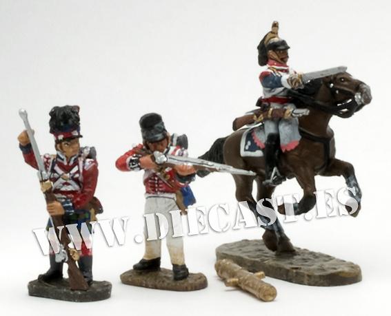 2 soldados ingleses + 1 francés + cañón inglés, 1:60, Del Prado