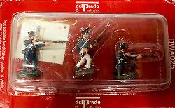 3 soldados de infantería, batalla de Waterloo, 1:60, Del Prado