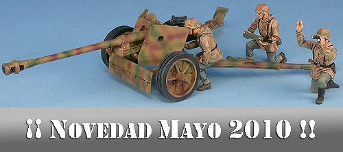 75mm PaK40, cañón anti carro alemán con tres figuras, Normandia 1944, 1:48, Gasoline