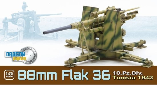88mm FlaK 36, 10.Pz.Div., Tunisia, 1943, 1:72, Dragon Armor