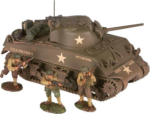 A4A3 Sherman Tank & 3 Infantry Figures, 1:50, Corgi