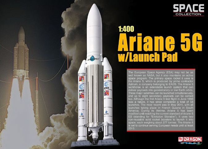 Ariane 5G con lanzadera, Aegencia Europea del Espacio, 1:400, Dragon Space Collection