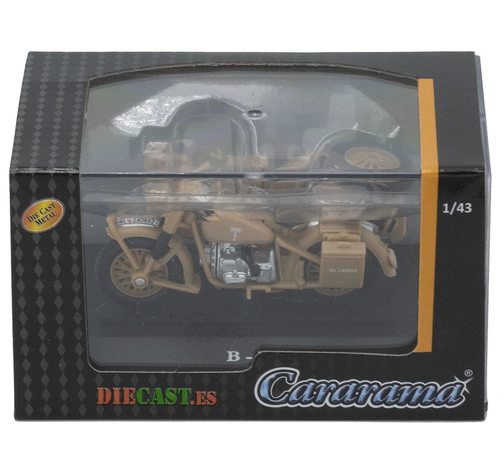 BMW R-75 c/sidecar Afrika Korps, 2ª Guerra Mundial, 1:43, Cararama