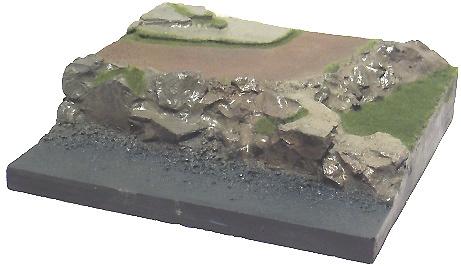 Base plana con camino en curva, en plástico, para pintar, 1:72, Mark Model