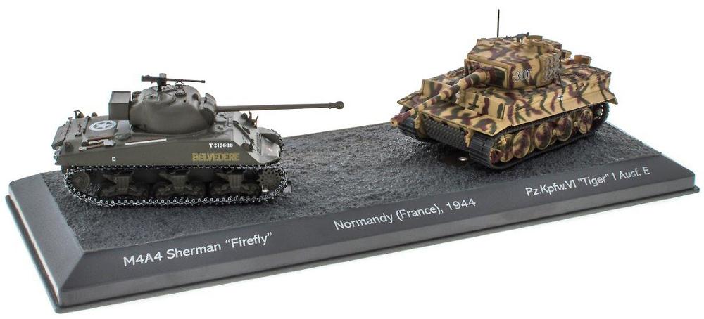 Batalla de Normandía, M4A4 Sherman Firefly + PzKpfwVI Tiger I Ausf E, 1944, 1/72, Salvat