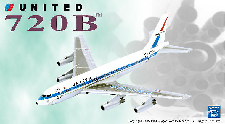 Boeing 720-022 con motores de chorro de agua, United Airlines N7202U, 1:400, Dragon Wings