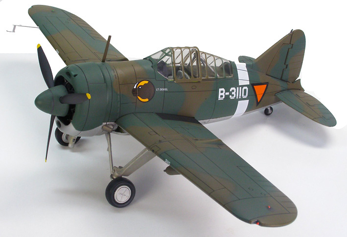 Brewster Buffalo F2a2, B339C, 2-VLG-V, Netherlands East Indies Army Air Corps, 1:48, Hobby Master
