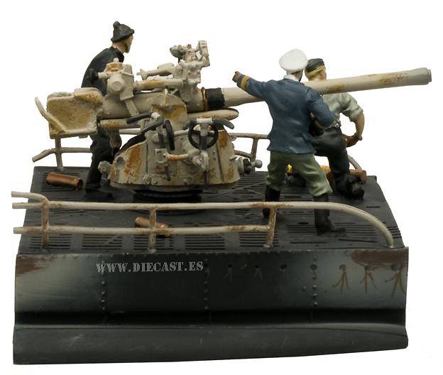 Cañón 88 mm. Submarino alemán U-Boat, tipo VIIc., 1:32, Planeta Agostini