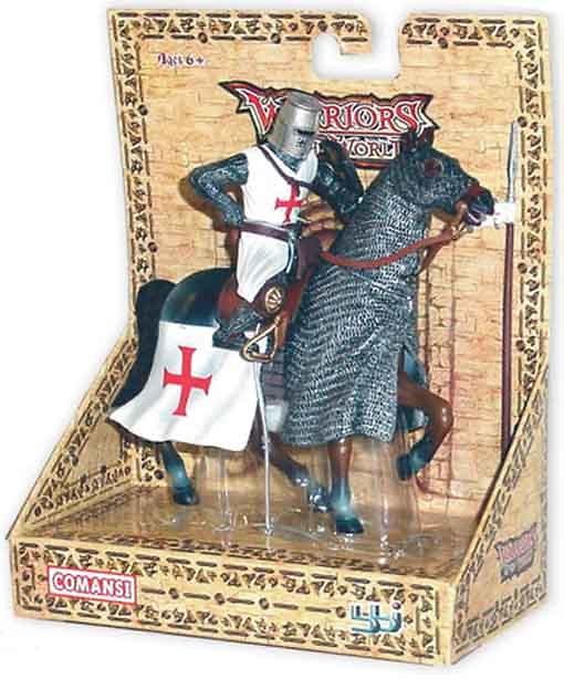 Caballero Templario con caballo, 1:18, Blue Box