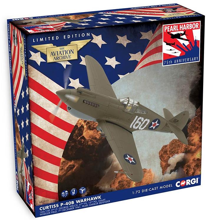 Curtiss P-40B Warhawk, 160/15P, 2nd Lt. George Welch, 47th PS, 15th PG, USAAF, Pearl Harbor, 1941, 1:72, Corgi