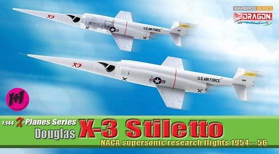 Douglas X-3 Stiletto, NACA Supersonic Research Flights, 1954-56 (2 unidades), 1:144, Dragon Wings
