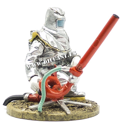 Firefighter with fire retardant suit and hydrocarbons, France, 2000, 1:30, Del Prado