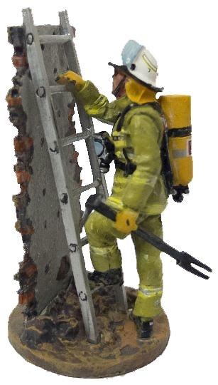 Firefighter with fire retardant suit with ladder, Hobart, Austria, 2003, 1:30, Del Prado