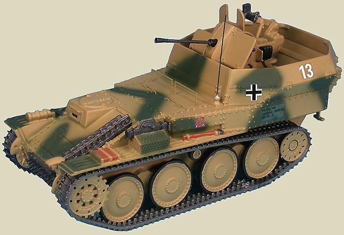 Flakpanzer 38(t) Gepard Anti-Aircraft Tank auf Selbstfahrlafette 38(t) Ausf M (Sd.Kfz.140), 12.SS-Panzer-Division Hitlerjügend, Normandía, 1944, 1:48, Gasoline