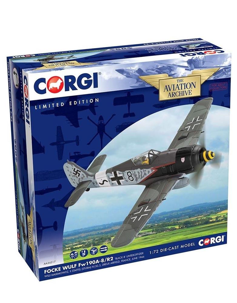 Focke Wulf Fw190A-8/R2 'Black 8' Unteroffizier Willi Maximowitz, II Staffel (Sturm) IV/JG.3, 1:72, Corgi