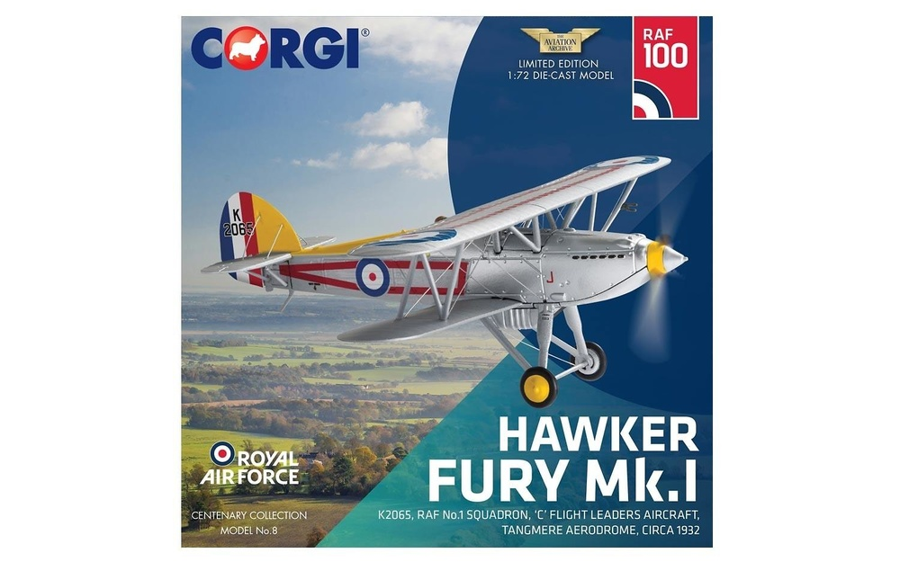 Hawker Fury Mk.I, K2065, RAF No.1 Squadron, circa 19321:72, Corgi