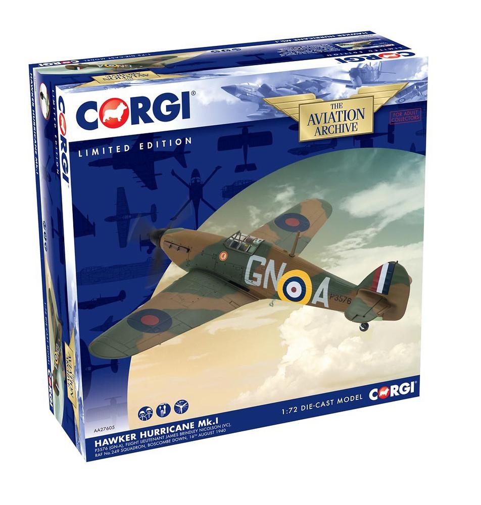 Hawker Hurricane Mk.I, P3576 (GN-A), Teniente James Brindley Nicolson (VC), RAF No.249 Squadron, Agosto, 1940, 1:72, Corgi