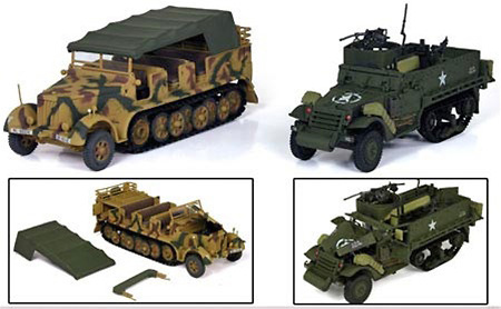 Iron Horses, Dual Pack, US M3A3 Halftrack & German Sd.Kfz. 7, 1:32, 21st Century Toys
