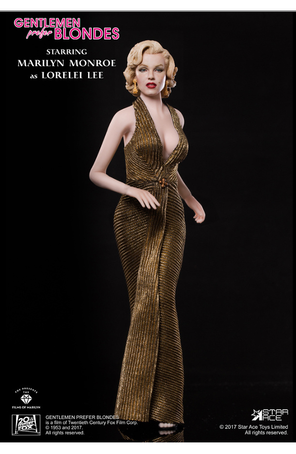 Marilyn Monroe con vestido dorado, en