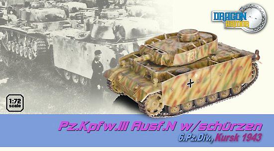 Pz.Kpfw.III Ausf.N w/Schurzen 6.Pz.Div., Kursk, 1943, 1:72, Dragon Armor