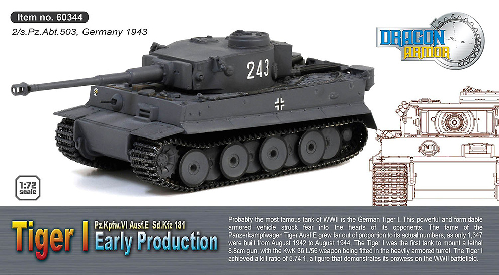 Sd.Kfz.181 Tiger I, 2/sPzAbt 503, Alemania, 1943, 1:72, Dragon Armor