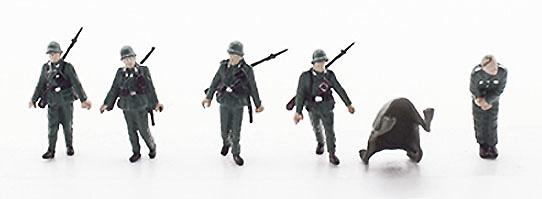 Soldados alemanes con herido, 2ª Guerra Mundial, 1:72, PMA