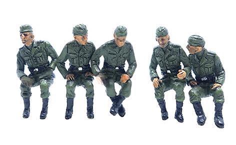 Soldados alemanes en posición de sentados, 2ª Guerra Mundial, Set A, 1:72, PMA