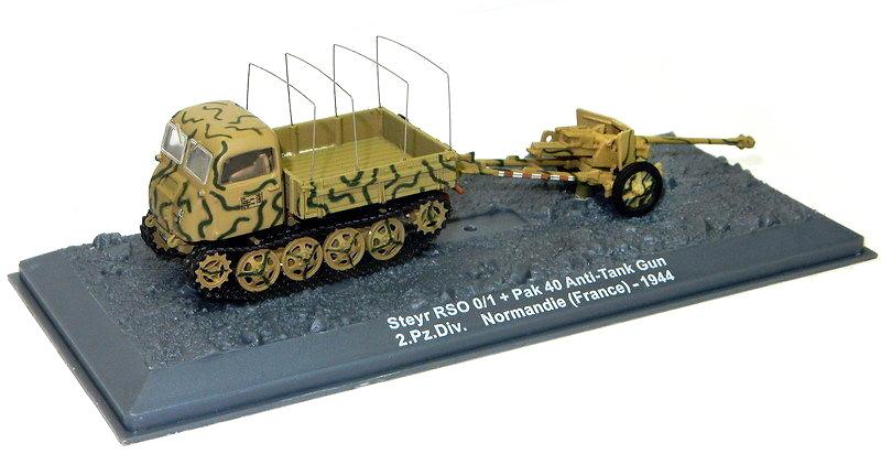 Steyr RSO 0/1 + Pak 40 Anti-tank Gun 2.Pz.Div. Normandía, 1944, 1:72, Altaya