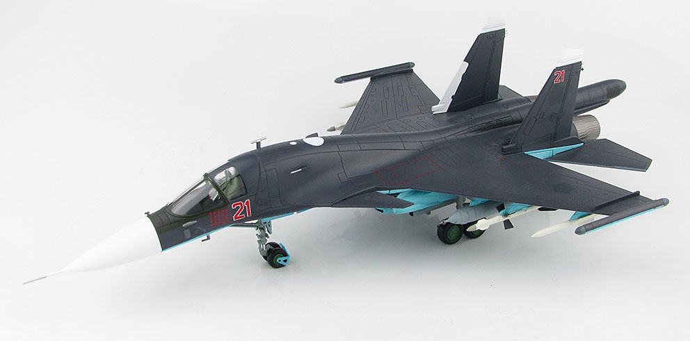 Su-34 Fullback Fighter Bomber Red 21, Russian Air Force, Siria, 2015, 1:72, Hobby Master