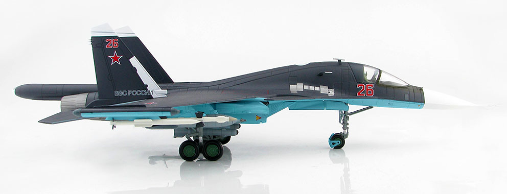 Su-34 Fullback Fighter Bomber Red 26, Russian Air Force, Siria, 2015, 1:72, Hobby Master