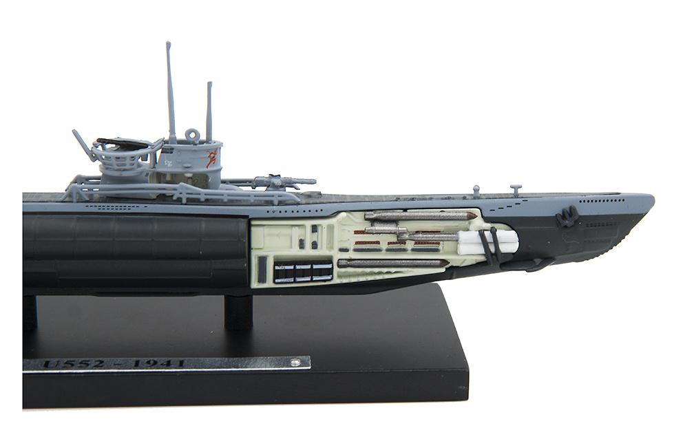 metal 1:350 1941 Listo modelo submarino tipo u-552 VII C atlas nuevo