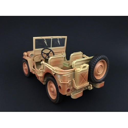 US Army Jeep, desert color (with dirt marks), World War II, 1:18, American Diorama