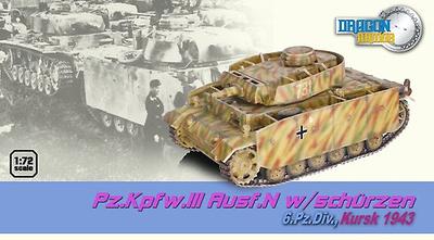 ,Pz.Kpfw.III Ausf.N w/Schurzen 6.Pz.Div., Kursk, 1943, 1:72, Dragon Armor