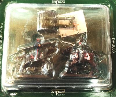 2 Soldados a caballo (espada y lanza) y 1 catapulta, 1:60, Del Prado