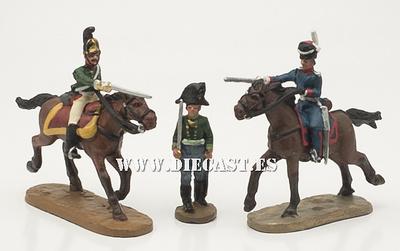 2 soldado a caballo + 1 soldado a pie, 1:60, Del Prado
