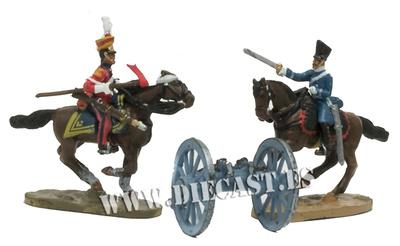 2 soldados a caballo + cañón inglés, 1:60, Del Prado
