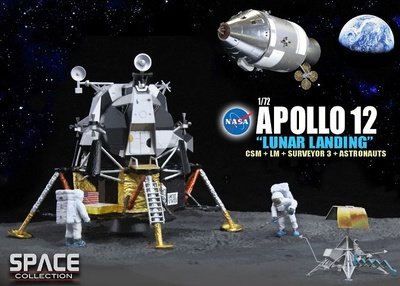 "Apollo 12 ""Lunar Landing"" CSM + Módulo Lunar + Surveyor 3 + Astronautas, 1969, 1:72, Dragon Space Collection"