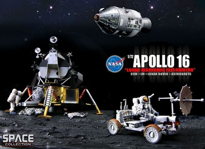"Apollo 16 ""Lunar Highlands Exploration"" CSM + LM + Lunar Rover + Astronauts, 1972, 1:72, Dragon Space Collection"