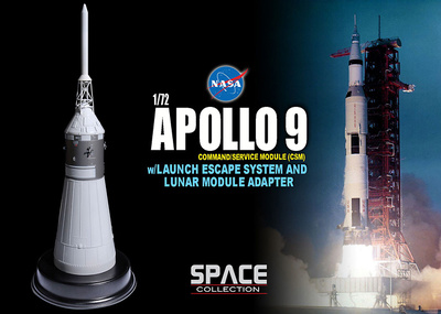 Apollo 9 Command/Service Module (CSM) w/Launch Escape System and Lunar Module Adapter, 1:72, Dragon Space Collection