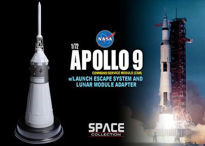 Apollo 9 Command/Service Module (CSM) w/Launch Escape System and Lunar Module Adapter, 1:72, Dragon Space Collection