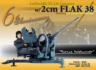 "Artillero ""Marcus Holzhammer"", artillero antiaéreo de la Luftwaffe con 2cm Flak 38, Blitzkrieg, 1940, 1:6, Dragon Figures"
