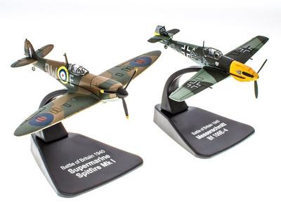 Battle of Britain + Messerschmitt Bf109E-4 Supermarine Spitfire MkI, 1940, 1:72, Atlas
