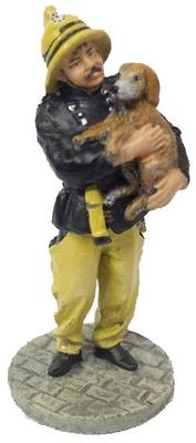 Bombero con traje ignífugo con perro rescatado, Londres, 1987, 1:30, Del Prado
