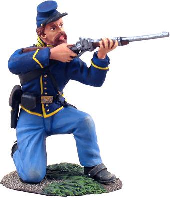 Caballería de la Unión, Soldado disparando de rodillas, 1:32, William Britains