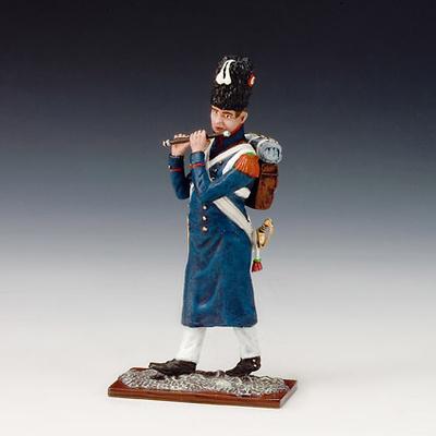 Cazador músico tocando flauta travesera, Guardia Imperial Francesa, 1815, 1:24, Schuco