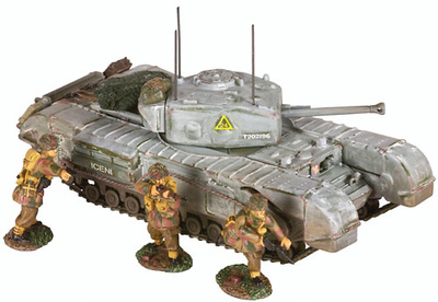 Churchill MK.VII Tank & 3 Infantry Figures, 1:50, Corgi